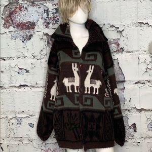Tejidos Ruminahui llama cardigan wool sweater coat